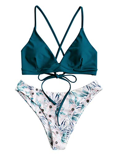 ZAFUL Damen Push Up Sommer Bikini Set Beachwear Blau M