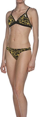 arena Damen Bikini Trainingsbikini Fisk, Black/Yellow Star, 36