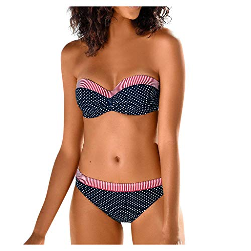 Damen-Bikini Set Kolylong® Frauen Sexy Bügel Patchwork Punktdruck Gestreift Neckholder Bandeau Bikinioberteile mit abnehmbaren träger Triangle Bikinihosen Zweiteilige Badeanzug Strandmode